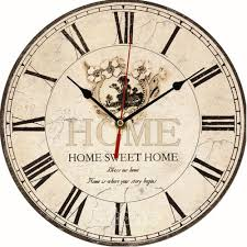 Wooden Wall Clock Vintage Wooden Wall Clock Large Shabby Chic Rustic Kitchen Home