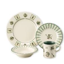 dining room awesome dinnerware set in white and green by