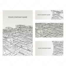 set of business card and invitation card templates architecture