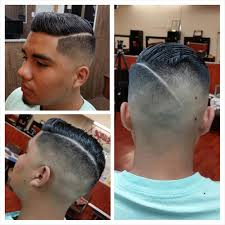 bald fade with creative part haircut by mariothebarber yelp