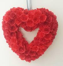 Paper Home Decor Red Heart Wreath Paper Rose Flowers Decoration Valentines Gift