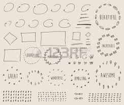 doodles border arrow crown decor elements set for design templates