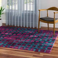 Modern Purple Rug Ebern Designs Angie Mid Century Modern Purple Area Rug Reviews