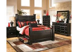 Shay Queen Poster Storage Bed Ashley Furniture HomeStore - Ashley furniture bedroom set marble top