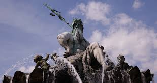 view of water fountain famous neptune statue greek god poseidon