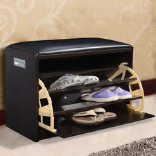 wood shoe storage bench ottoman cabinet closet shelf entryway