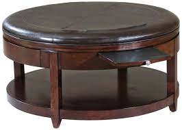 round tufted coffee table coffee table burlington brown leather storage ottoman hayneedle