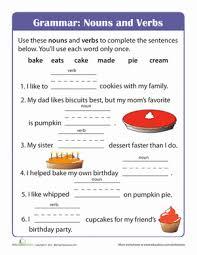 beginning grammar nouns and verbs worksheet education com