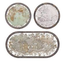 Framed World Map by Set Of 3 Antique Style Mirrored World Map Wood Framed Oval And