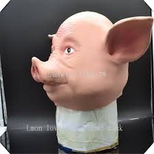 selling latex size full head cute pig animal halloween