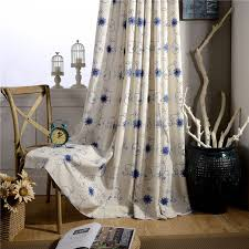Room Curtains Divider Blue Embroidered Curtains Polyester Cotton Fabrics Floral Drapes