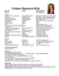 Movie Theatre Resume Acting Resume U2014 Colleen Britt