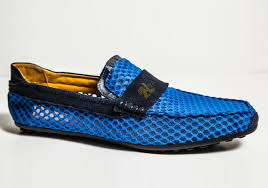 alaki u201d blue hollow mesh and suede loafers moccasins 1nyanga