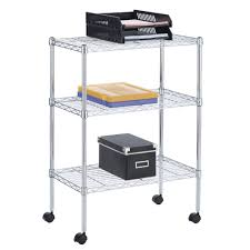 Wire Shelf Cart 3 Tier Wire Shelving Unit Officeworks