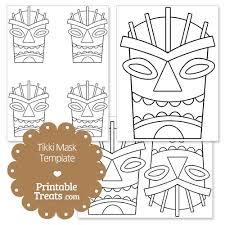 Printable Hawaiian Decorations Printable Tiki Mask Template From Printabletreats Com Hawaiian