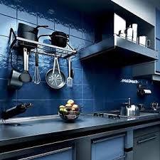 Kitchen Storage Shelving Unit - hanging utensil wall rack unit pan holder modern kitchen storage