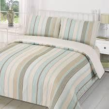 duvet quilt cover with pillowcase bedding set tenby stripe aqua