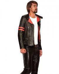 buy biker jacket mens studded black red leather biker jacket custom leather store