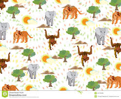 colorful seamless pattern with cute tigers stock photo image