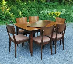 Solid Walnut Dining Chairs by Tribute 20th Decor 1950 U0027s Solid Walnut Table And Six Chairs