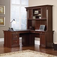 L Shape Wood Desk by Classic L Shape Espresso Glaze Wooden Computer Desk With Lighting