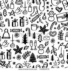 black and white christmas wrapping paper christmas seamless pattern doodles stock vector