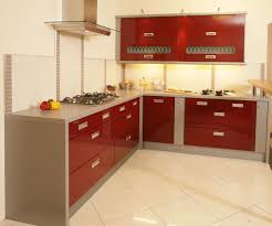 red silver glossy kitchen cabinet and white tile backsplash added