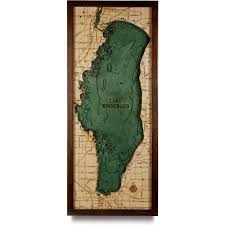 Wisconsin Topographic Map by Lake Winnebago Wood Map 3d Nautical Topographic Chart Framed Art