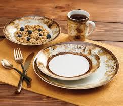 birch bark dinnerware set 16 pcs