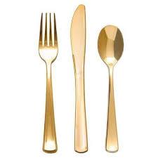 gold plastic silverware gold plastic fork knife spoon cutlery set