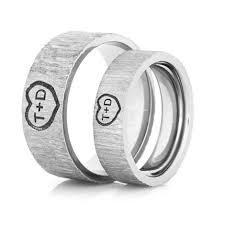 matching titanium wedding bands matching titanium carved heart tree bark rings titanium buzz
