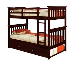 Wooden Bunk Beds With Trundle Bunk Bed Mission Style In Cappucino