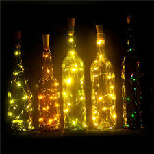 set of 6 wine bottle lights battery powered led cork shaped