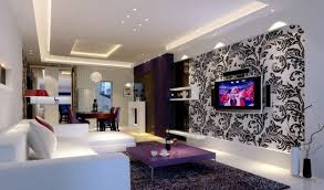 white and purple in modern living dining room interior design