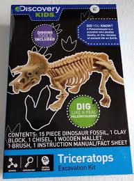 amazon com discovery kids dinosaur excavation kit triceratops
