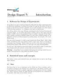 design expert 7 user manual design expert 7 statistics experiment