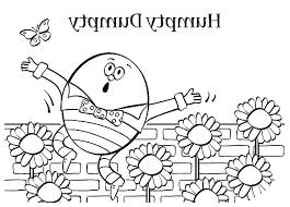 humpty dumpty butterfly sunflowers garden coloring pages