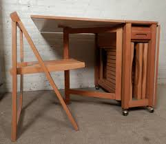 Folding Table With Chair Storage Drop Leaf Table With Chair Storage And Mid Century Modern