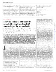 neuronal subtypes and diversity revealed by single nucleus rna