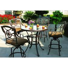 Patio Dining Sets For 4 by Shop Darlee Ten Star 5 Piece Antique Bronze Glass Bar Patio Dining