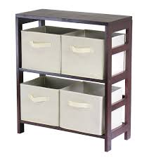Storage Bins For Shelves by Amazon Com Winsome Wood Leo Wood 3 Tier Shelf With 3 Rattan