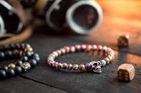 bracelet skull beads images Pinkish colorful beaded bracelet with silver skull bead men 39 s jpg