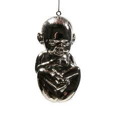 crucial gifts flaming silver trembling fetus ornament