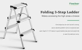 finether folding 3 step stool aluminum double sided step ladder
