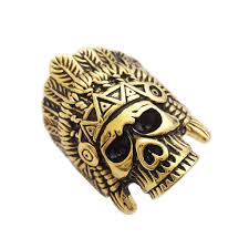 classic skeleton ring holder images Indian chief skull ring gold stainless steel rings native american jpg