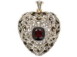 diamond studded edwardian platinum garnet diamond studded heart pendant