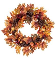 pinecone wreath august grove 24 autumn leaves pinecone wreath reviews wayfair