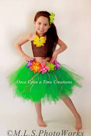 Halloween Costumes 6 Girls Luau Hawaiian Grass Hula Skirt Tutu Dress Girls Size 6m 12m