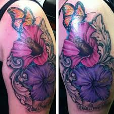 colored butterfly with hibiscus flower tattooshunt com