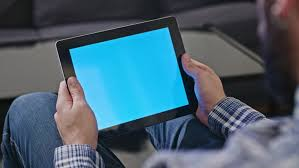 Coffee Table Uses by Close Up Rear View Of Man Uses A Digital Tablet With A Blue Screen